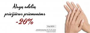 Nagų odelių priežiūros priemonėms -20 % nuolaida